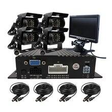 Бесплатная Доставка 4 CH 720 P AHD Запись в Реальном времени SD Автомобилей Автомобиля DVR 4 Шт. Ночного Видения Заднего Сторона Вид Спереди Камеры Автомобиля + 7 «ЖК-