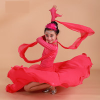 2017 Red ballroom dancing dresses for kids ballroom dress china girls ballroom dance competition dresses waltz Spanish flamenco