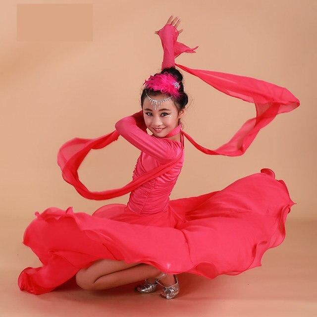 2017 Красный Бальные танцы платья для детей Бальные платья Китай девушки бальных танцев конкурс платья вальс испанского фламенко
