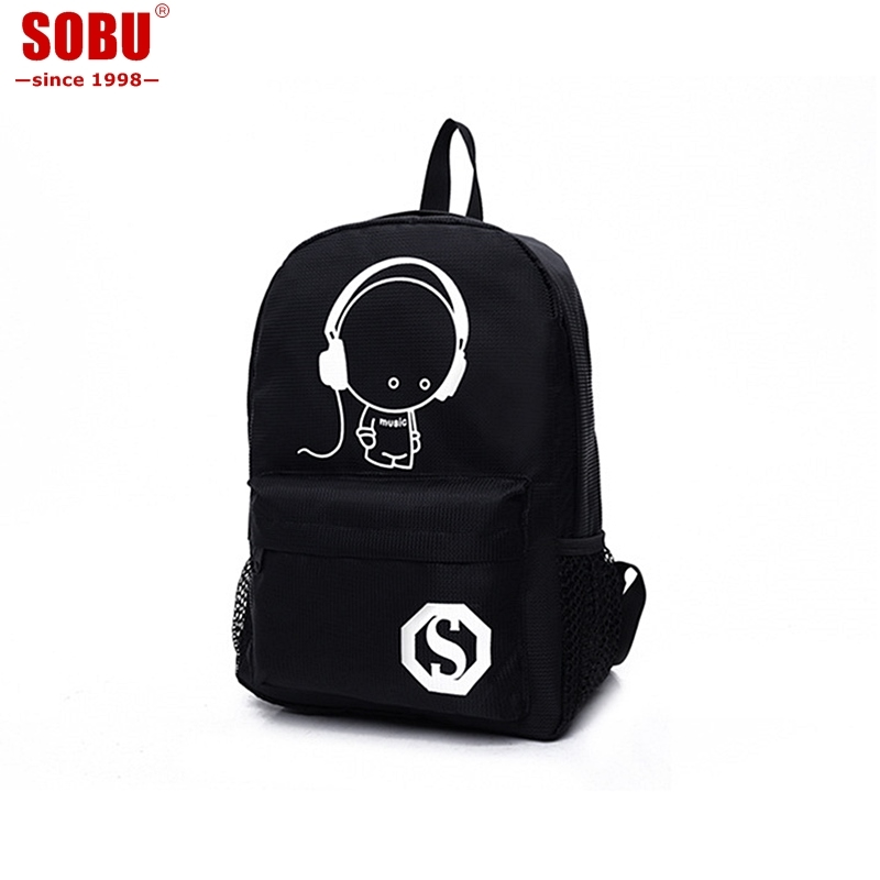 School Backpack Student Luminous Animation Children School Bags For Teenager Computer Anti-theft Laptop Backpack V041