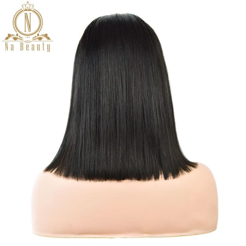 Droite U partie perruques cheveux humains court Bob perruque sans colle 2 x 4 milieu partie 150% pour les femmes cheveux naturel noir couleur Remy Nabeauty - 5