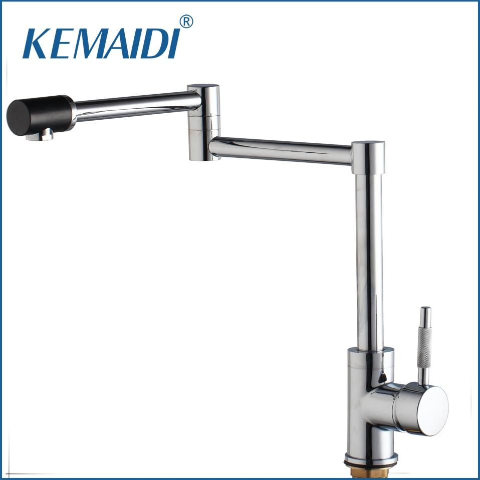 KEMAIDI New Chrome Finish Kitchen Faucets Deck Mount Single Handle Mixer Bar Taps Bathroom Sink Faucet Kitchen Sink Faucets bathroom sink faucets deck mount long spout washbasin mixer taps chrome