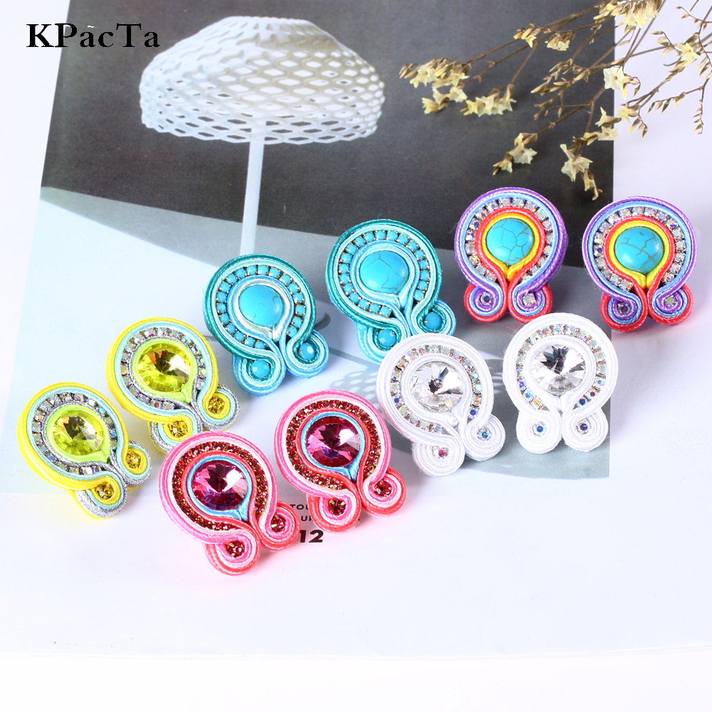 KPacTa Light Luxury Handmade Weaving Soutache Drop Earring Ethnic Jewelry Female Crystal Earring Banquet Gifts boucle d'oreille