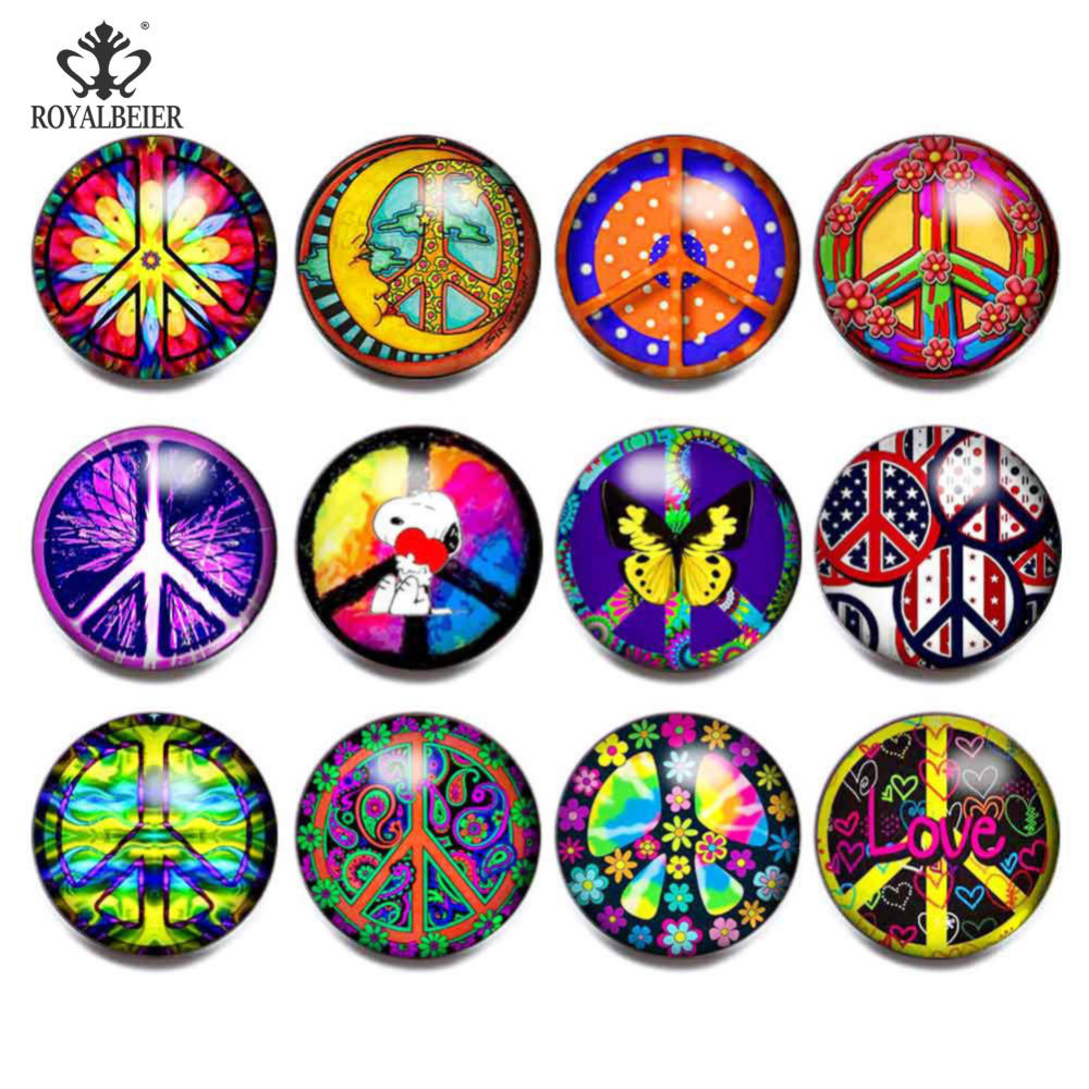 Royalbeier 12pcs/lot Mix Style Peace Sign 18mm Colorful Snap Button bijuterias Glass Charms DIY Bracelet Jewelry Women berloque