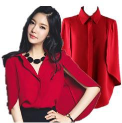 New fashion Red Blue white shirt women blouse Cape shawl shirts