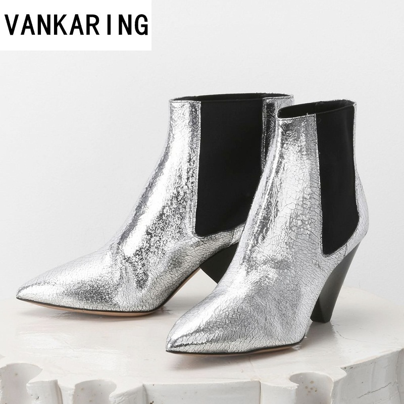 VANKARING brand leather women shoes comfortable high heel ankle boots fashion pointed toe keep warm winter