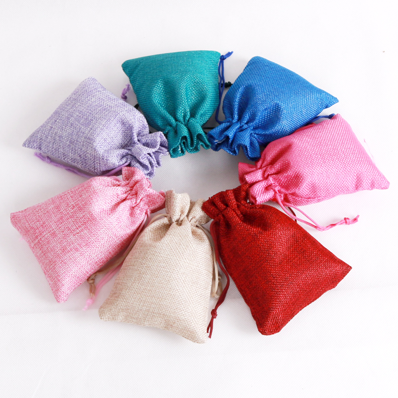More 14Colors Jewelry Bag 7x9 10x14 13x18 15x20cm Wedding Gift Vintage Drawstring Jewelry Pouch Hessian Jute Burlap Gift Bags