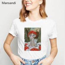 Print Tshirt Dress Mushroom-Girl 90s Aesthetic Tops Vogue Plus-Size Femme Women Funny