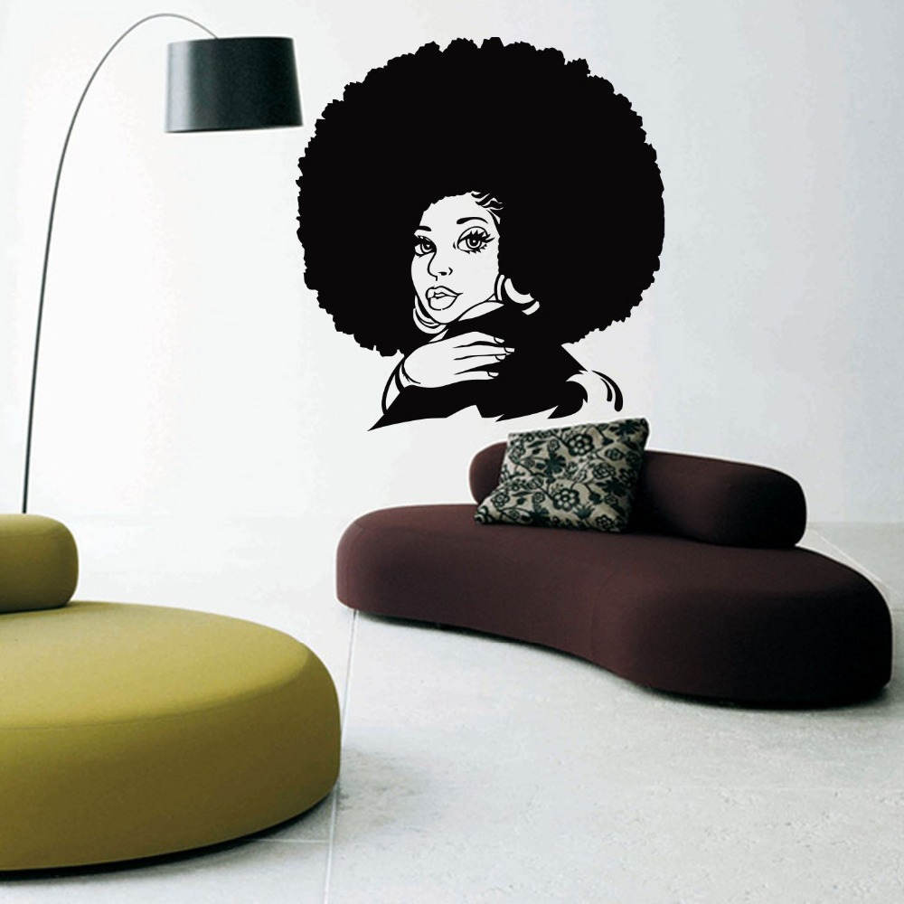 Hair salon sexy girl vinyl wall decal african woman style natural hair soul jazz girl wall sticker salon hair shop decoration
