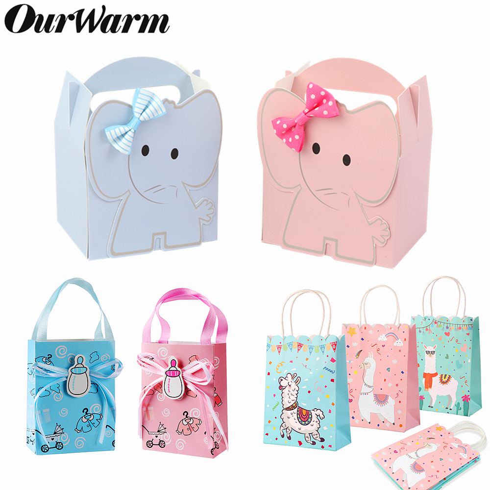 OurWarm Paper Candy Gift Box Elephant Dessert Bags With Holder Boys Girls Baby Shower Llama Party Favors Gifts Decoration