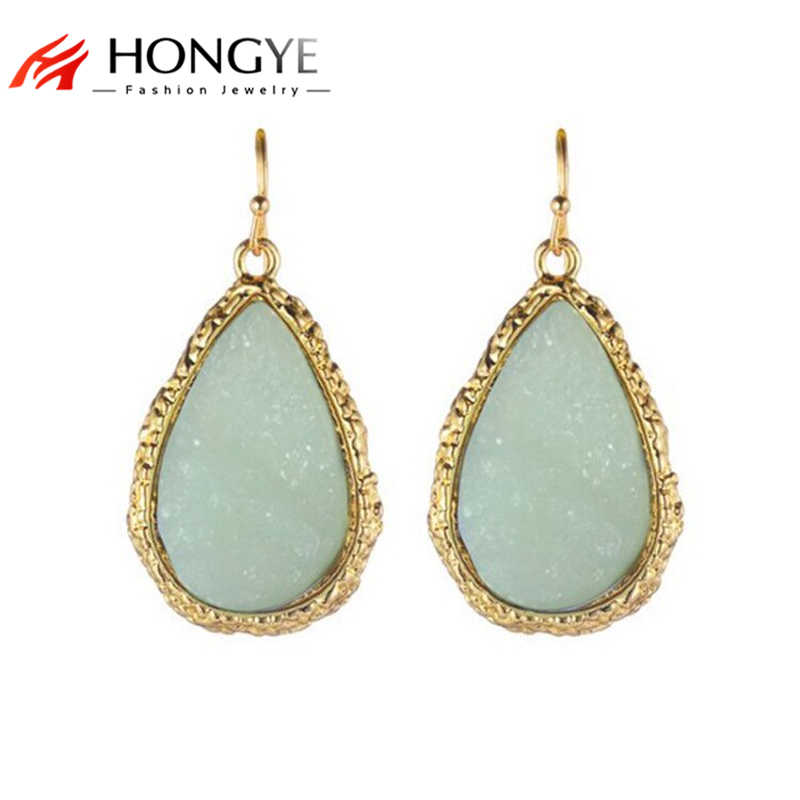 Big Drop Earrings for Women Exaggerated Light Blue Charm Stone Shiny Gold Pendant Earrings Chunky Statement Water Drop Jewelry