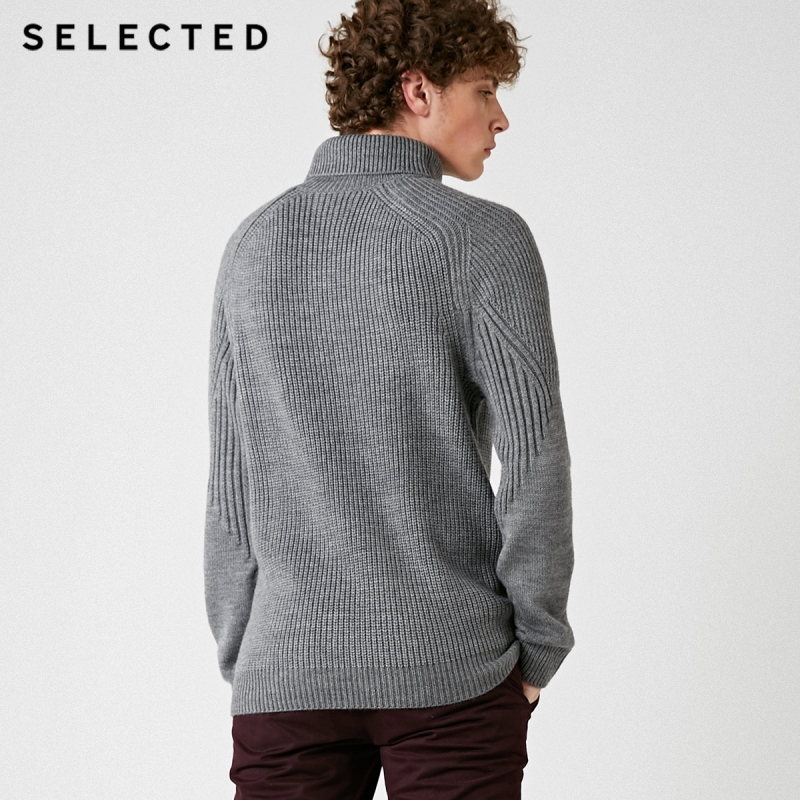 Image 4 - SELECTED High Neck Multiple Colors Knitted Pullovers Men's Wool blend Sweater  418425533-in Pullovers from Men's Clothing