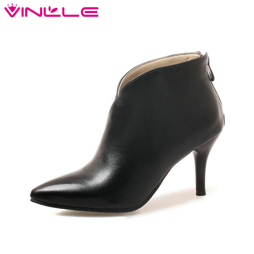 VINLLE 2019 Classic Women Shoes Ankle Boots Thin High Heel
