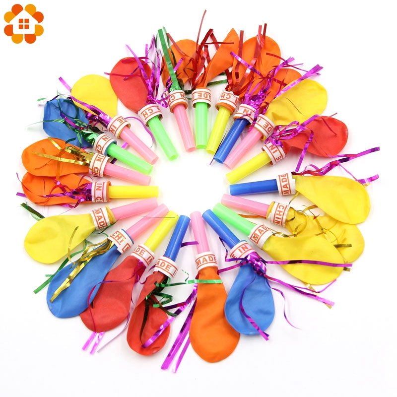 50PCS Colorful Blowouts Whistle Blowing Dragon With Balloon For Kids Birthday Party Favors Decoration Children Toys Supplies