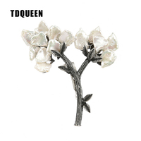 TDQUEEN Brooches Antique Silver Plated Baroque Pearl Broche Women Pins De Mujer Metal Tree Brooch For