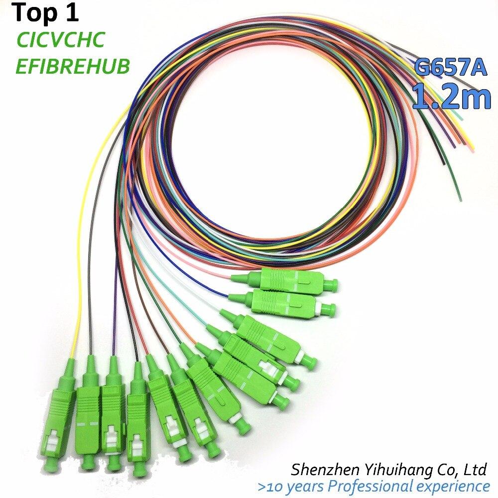 12 Colors SC/APC-0.9mm-PVC-SM(G657A)-1.2m / Optical Fiber Pigtail