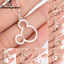 Shuangshuo Hollow Out Mickey Pendants Necklaces For Women Necklace Silver Chain Choker Stianless Steel Jewelry collar Necklace(China)