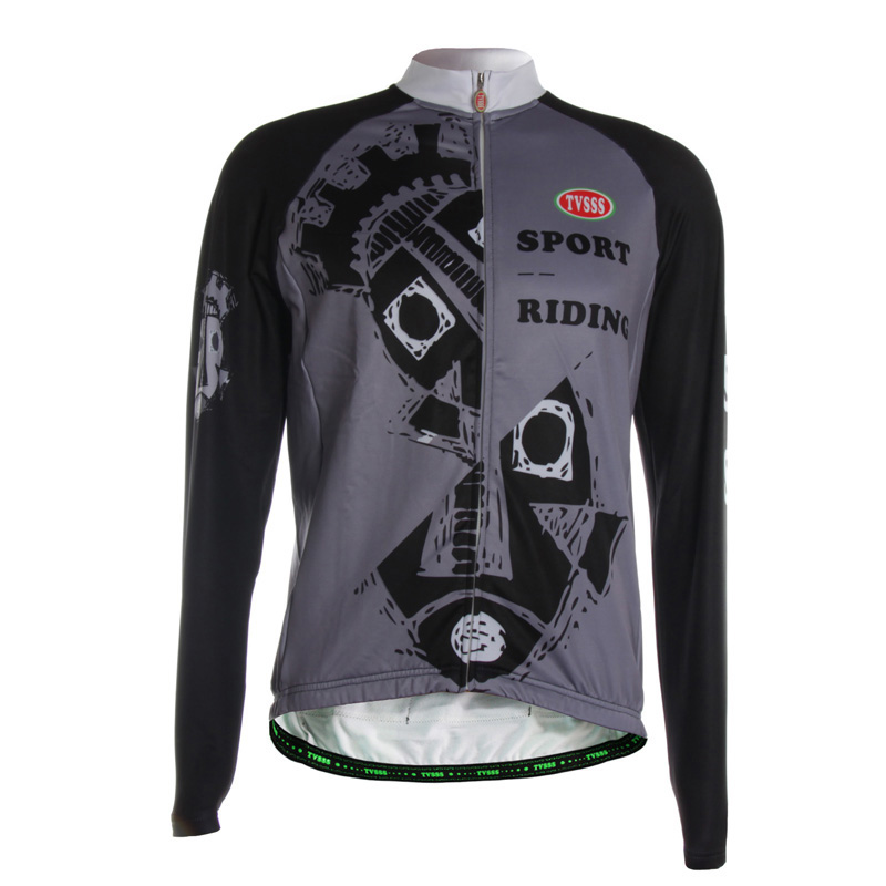 TVSSS Men's Black Grey Printing Cool Style Cycling Jersey Winter Long Sleeve The Design of Individual Fish Bicycle Clothing прогулочная коляска cool baby kdd 6699gb t fuchsia light grey