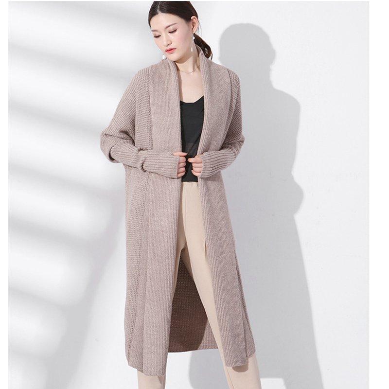2018 printemps nouveau tempérament commuter lâche chandail cardigan femme longue solide couleur sauvage tricoté lâche manteau 17065
