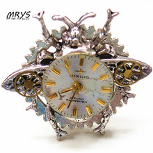 steampunk gothic punk rock honeybee watch face gears open one ring men women girl handmade vintage jewelry for party gift suit