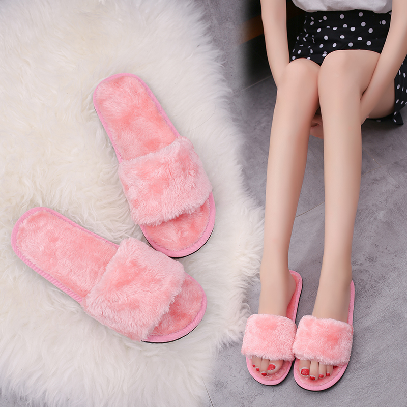 Women Shoes Winter Plush Cotton Slippers Female Slippers Home Word Cotton Drag Comfortable Shoes Fur Wool Women's Cotton Shoes