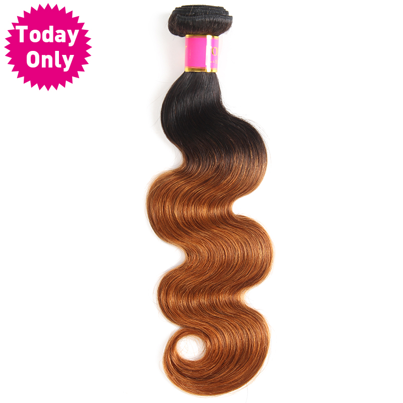 [TODAY ONLY] Ombre Brazilian Hair Body Wave Bundles 1b 30 Two Tone Human Hair Weave Bundles 100g/pc No Shedding Non Remy Hair
