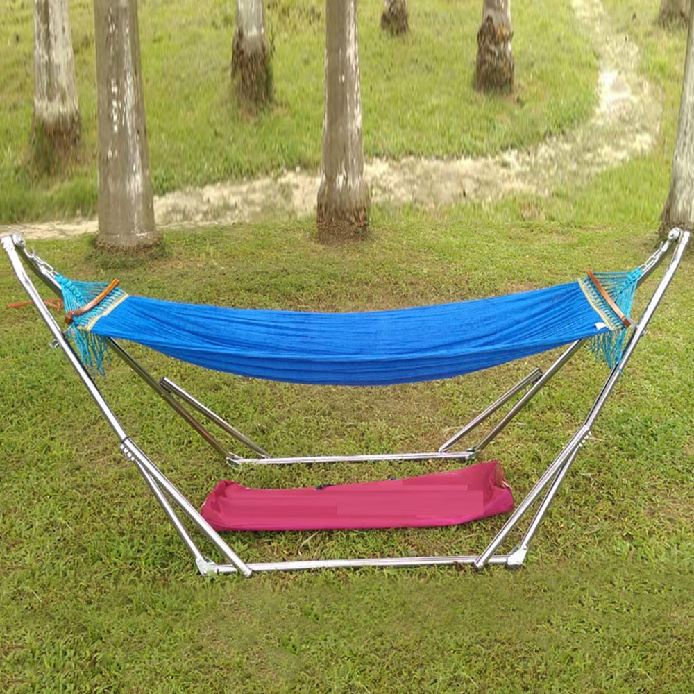 Icehome Single Double Cotton Hammocks With Space Saving Steel Hammock Sleeping Bag Tempat Tidur Gantung Ayunan 41 Red Indoor Outdoor Net Bed Self Driving Tour Folding Swing Adjustable White Bracket Garden