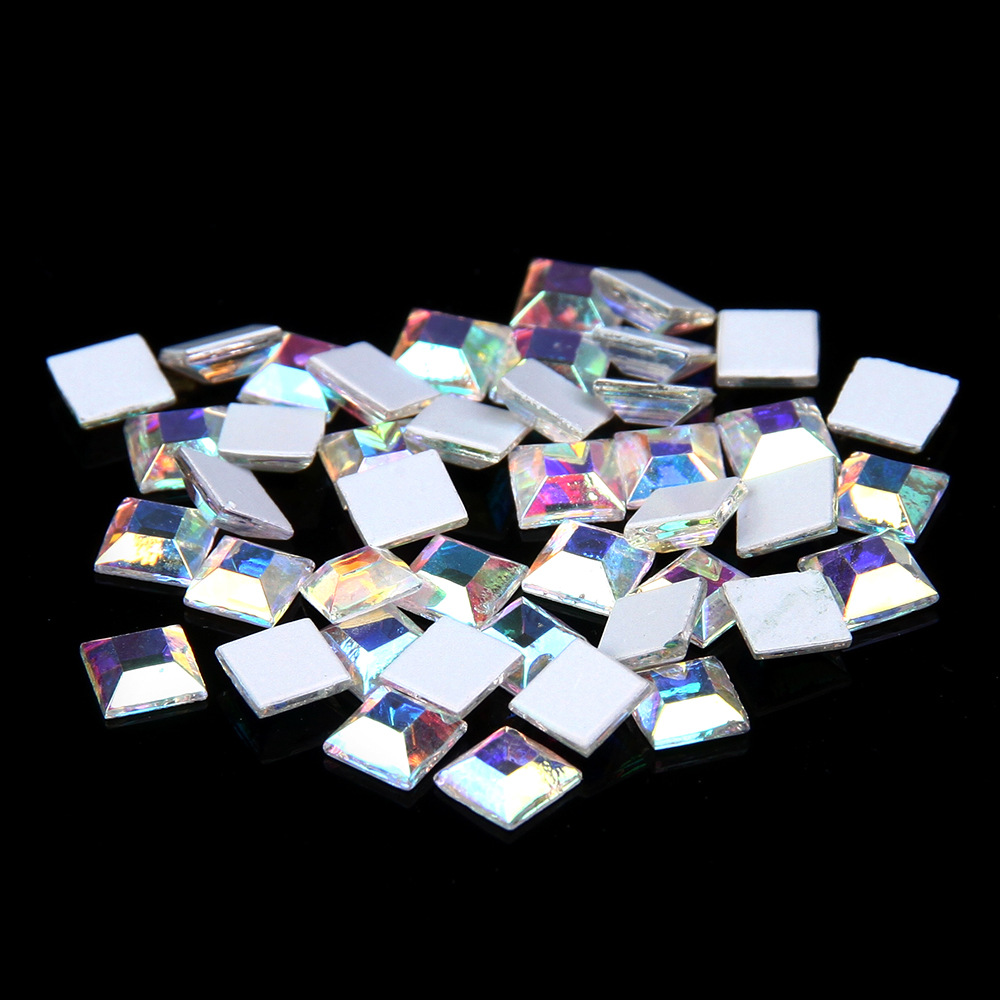 34c07a6da1 Aliexpress.com : Buy Non hot fix Flat back Crystal AB strass Square  Rhinestones Diamond Glue on beads for wedding Dress Nail art Decorations  from ...