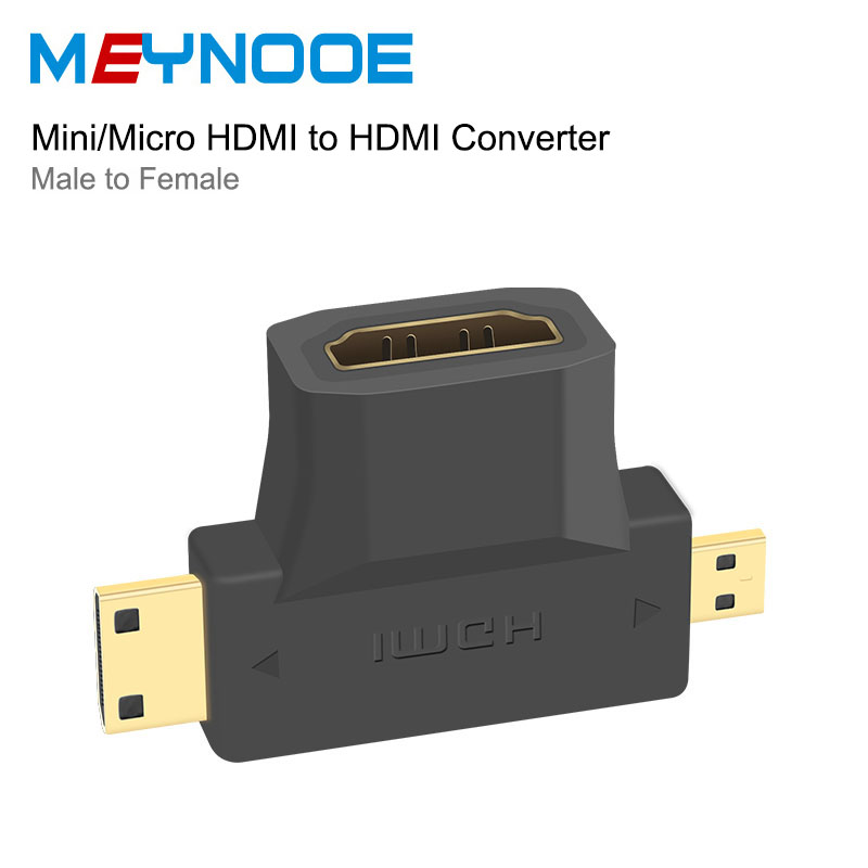 Micro HDMI / Mini HDMI adapter to HDMI Switch Extender 2 in 1 Male to Female Converter Mini Micro HDMI Splitter 3D 4K Extension