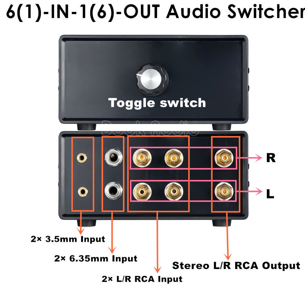 2018 Nobsound Mini Passive Preamp DIY Stereo Audio Switcher Splitter 6-IN-1-OUT 2* 3.5mm/6.35mm/RCA Amplifier eu us 1 in 4 audio signal switcher amplifier preamp hifi for headset speaker compact preamp 4 channel stereo microphone