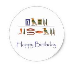 1 5inch Happy Birthday Egyptian Hieroglyphics Classic Round Sticker