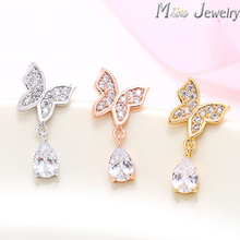 Latest Arrivals Wholesale 925 Sterling Silver Stud Earrings Rose Gold/Silver/Gold Crystal Butterfly Earrings Pendientes Brincos