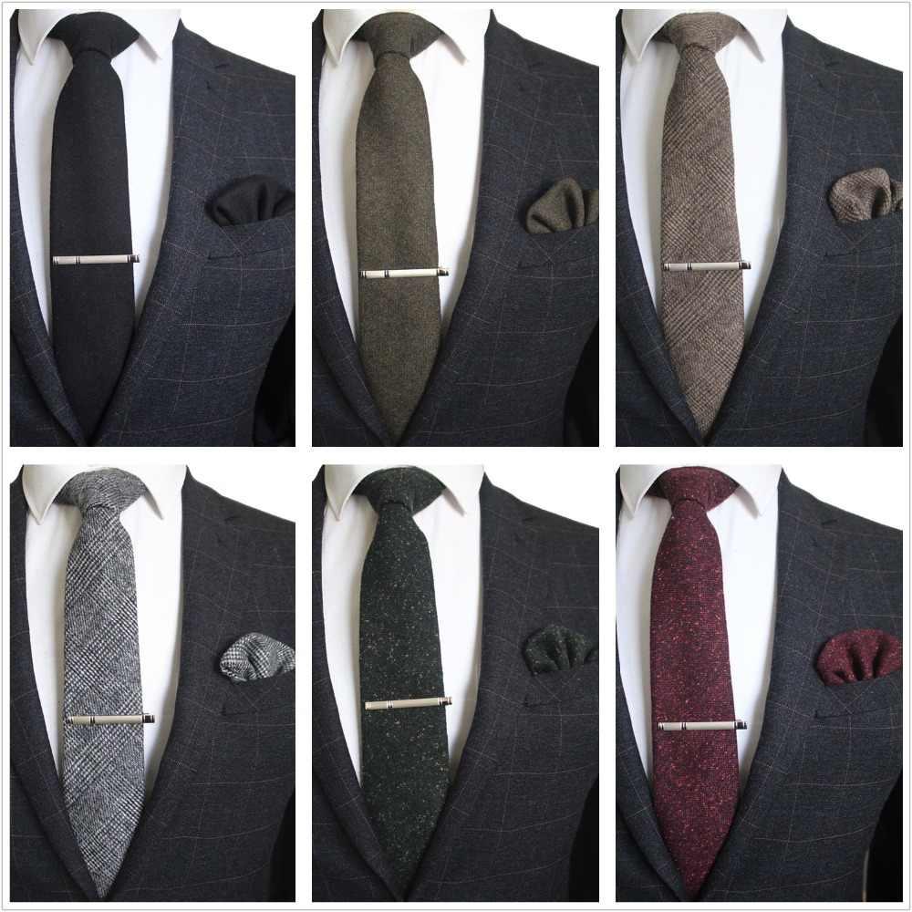 JEMYGINS оригинальный Шерсть Высокое качество ручной работы галстук кашемир многоцветный сплошной шеи галстук и платок набор галстуков Pin Gift Box Set