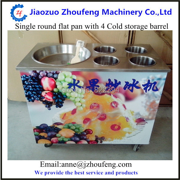 Ocean shipping single pan fried ice cream machine with 4 cold storage barrel