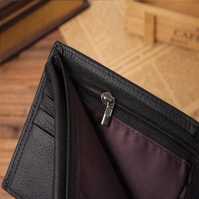 JINBAOLAI Genuine Leather Men Wallets Short Design ID Card Holder Waterproof Black Male Wallet Casual Top Quality Men Purse 4