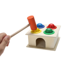 Baby Hammering Wooden Ball Hammer Box Colorful Children Baby Early Learning Educational Toys for Kids Gift