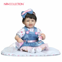 NPK bebe doll in Denim skirt reborn lifelike realistic real touch baby Christmas Gift popular Birthday Gift