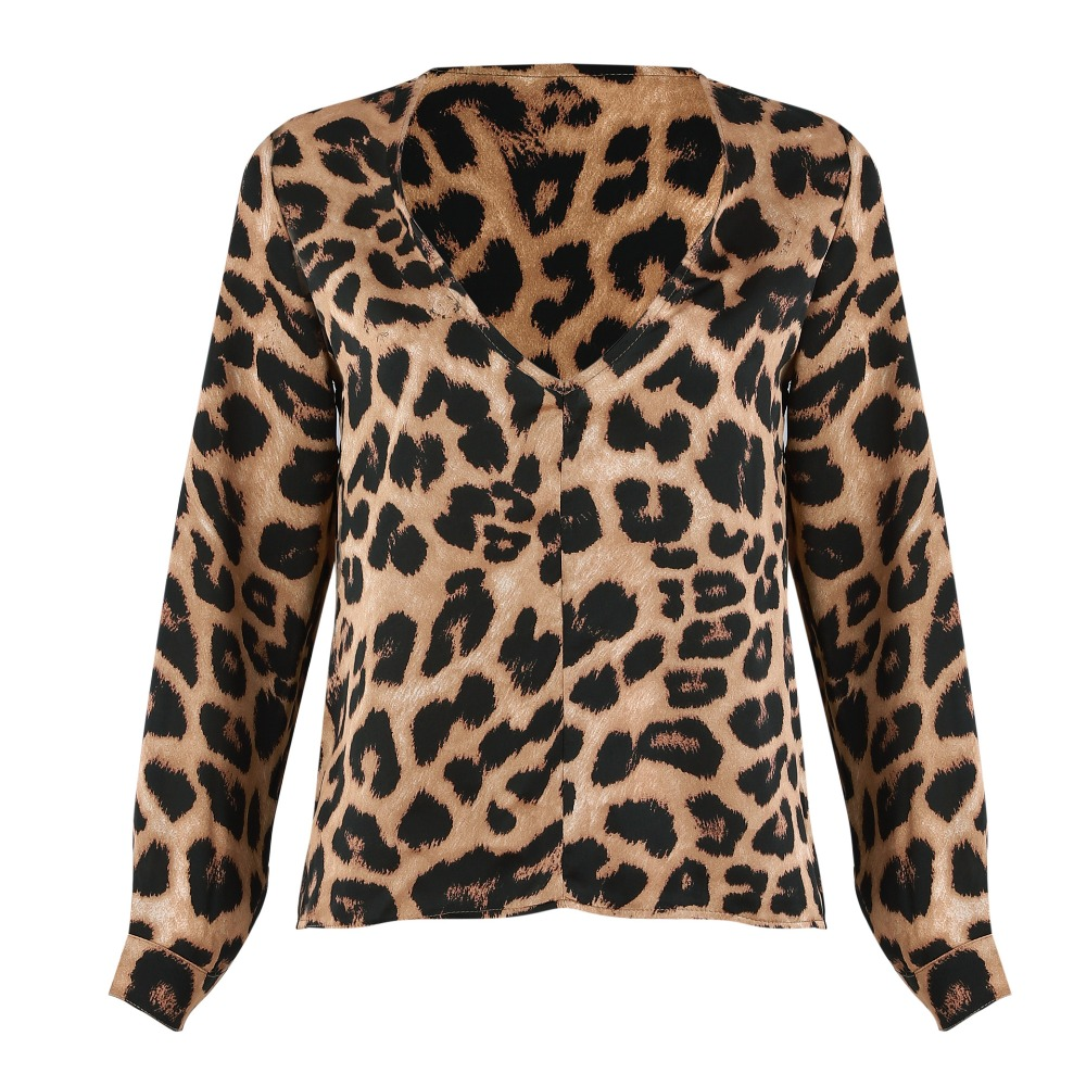 63180f469c67 Daylook Leopard blouse Silk slim shirt Tunic Women V neck casual top Autumn  Long Sleeve sexy Vintage top 2018 new-in Blouses & Shirts from Women's  Clothing ...