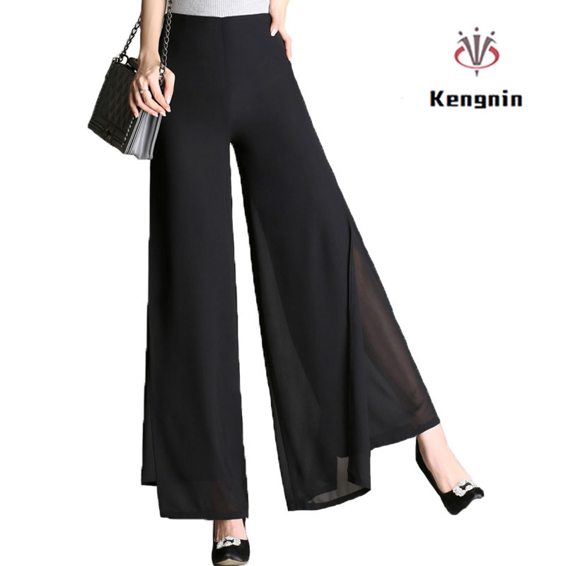 2019 Autumn Plus Size 4XL High Waist Double-Deck Women Trousers Elegant Chiffon   Wide     Leg     Pants   Fashion Ladies Flare Dance   Pant