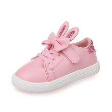 2018 New Kids Sneakers Spring Summer Shoes Children Sequined Rabbit Ears Sport Girls Princess Bow Tie Casual