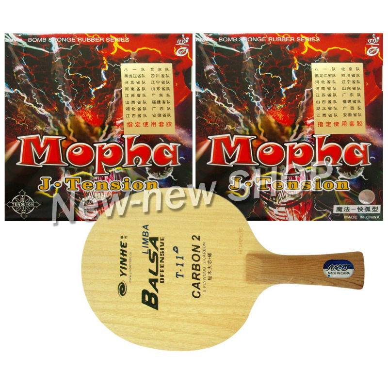 Pro Table Tennis Ping Pong Combo Paddle Racket Yinhe T-11+ + 2 Pcs Bomb Mopha J-Tension Professional Shakehand long handle FL pro table tennis pingpong combo racket palio chop no 1 with kokutaku 119 and bomb mopha professional shakehand fl