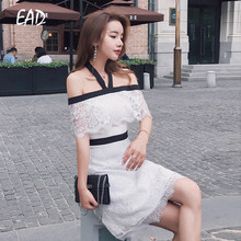 EAD Sexy Backless Summer Dress 2019 New Elegant Off Shoulder Women White Lace Bodycon High Waist Halter Female Vestido