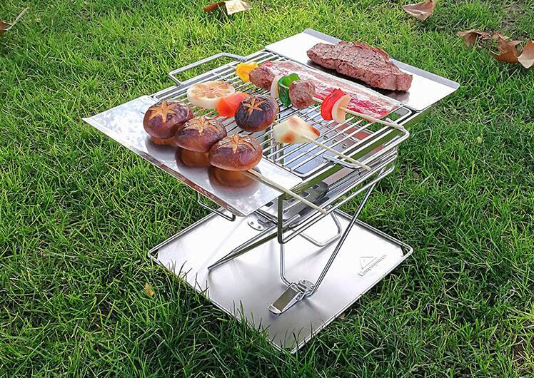 Outdoor Stainless Folding BBQ Grills Picnic Barbecue Rack BBQ Roast Stove with Storage Bag