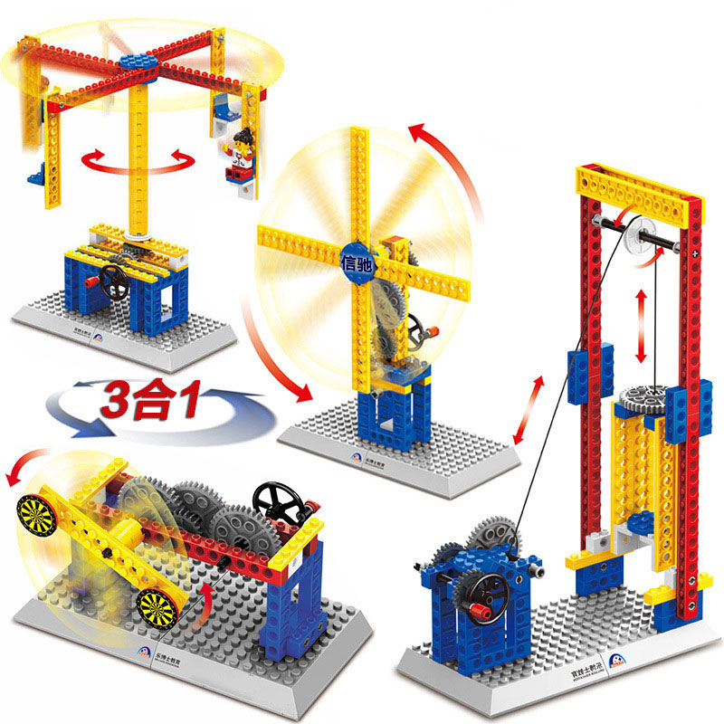 Science Teaching Mechanical EngineeringBuilding Blocks Educational Laq Toy Elevator mechanism Merry-go-round Toy Girl Xmas Gift