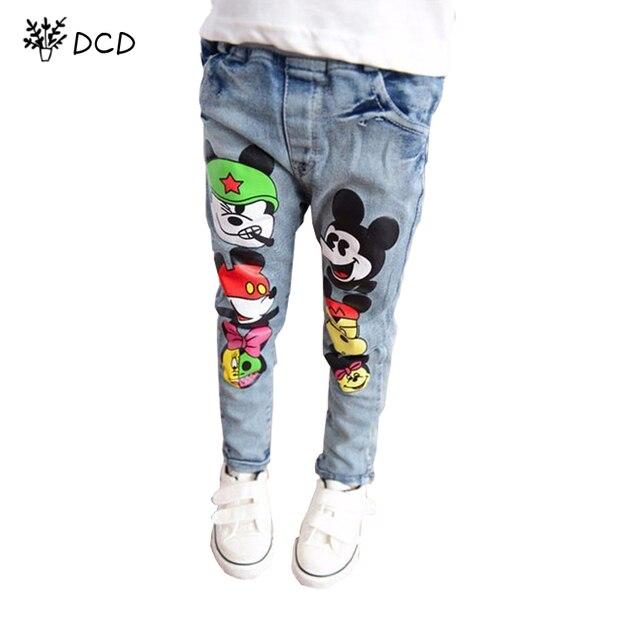 Марка дети мальчики девочки джинсы брюки весна осень мягкие детей девочка эластичный пояс мультфильм хлопок джинсовые джинсы для мальчиков девушки