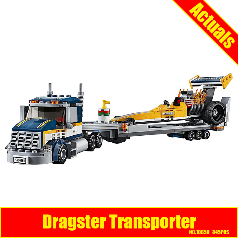 10650 345Pcs City Figures Dragster Transporter Model Building Kits Blocks Bricks Toy For Children Gift Compatible 60151 10646 160pcs city figures fishing boat model building kits blocks diy bricks toys for children gift compatible 60147