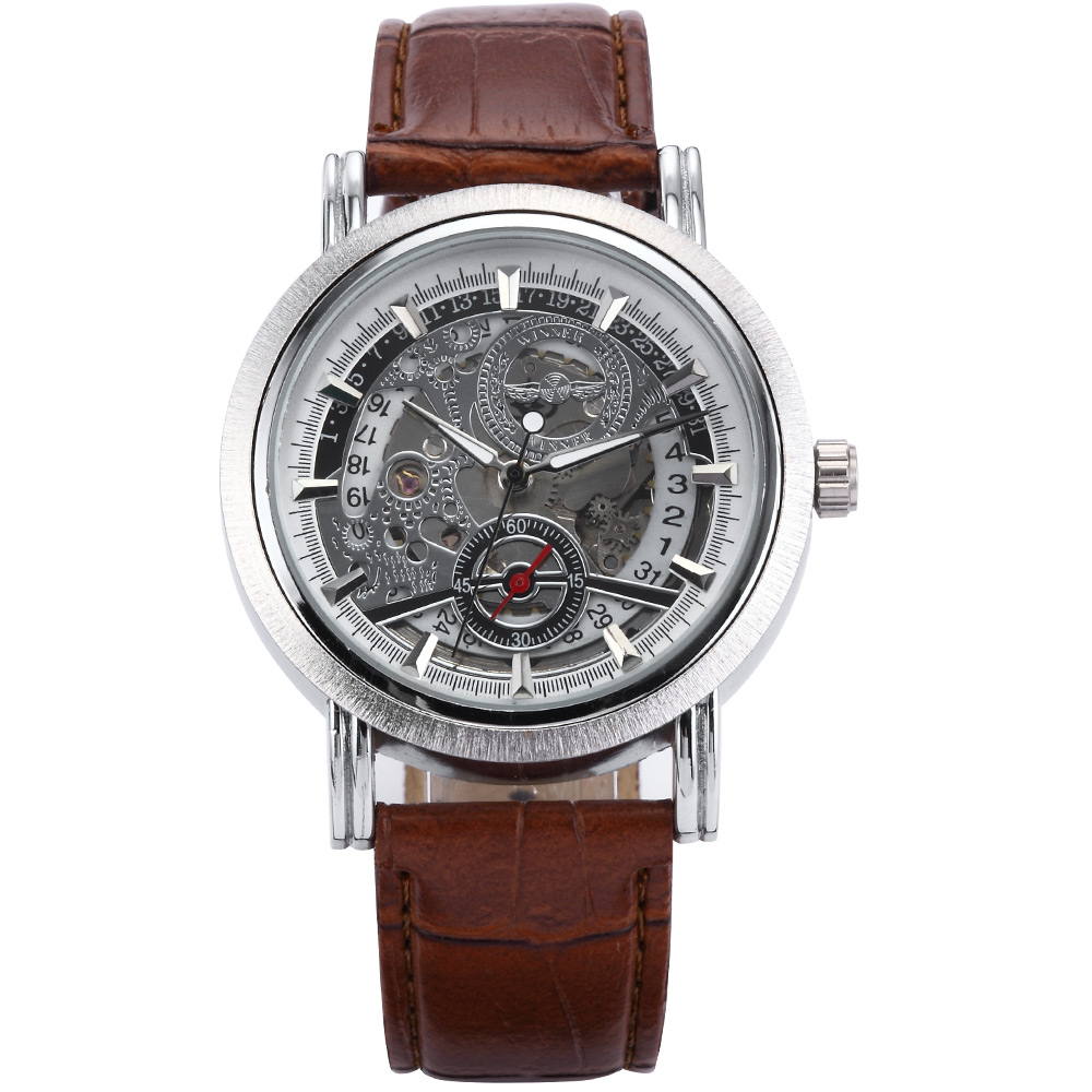 Brand New Skeleton Dial Silver Case Automatic Auto Mechanical Brown Leather Male Clock Analog Mens Casual Fashion Watch / PMW083 new arrivel white dial mens automatic skeleton mechanical watch with two movement freeship
