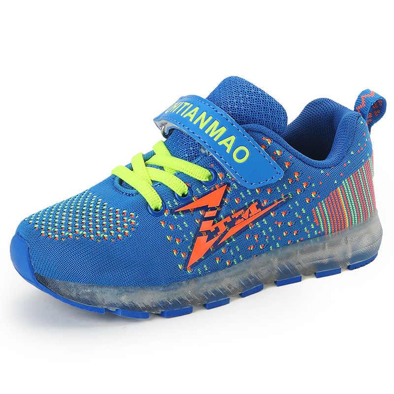 เด็ก Led Usb Charging Glowing รองเท้าผ้าใบแฟชั่นเด็กกีฬาส่องสว่างรองเท้าเด็กรองเท้าเด็กรองเท้าวิ่งรองเท้าสบายๆ