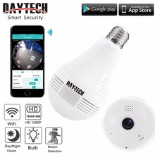 DAYTECH Wireless IP Camera Wifi Home Security Camera HD 1080P Surveillance Camera Night Vision Fisheye Baby Monitor Camera Bulb
