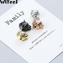 лучшая цена WLYeeS 4pcs CZ Green Eye Wolf head Charm Copper bead animal metal Pendant Loose bead For Jewelry making DIY bracelet Accessories